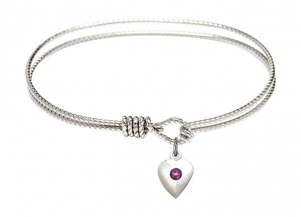 Cable Bangle Bracelet with a Puff Heart Charm - Amethyst