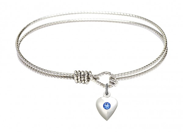 Cable Bangle Bracelet with a Puff Heart Charm - Sapphire