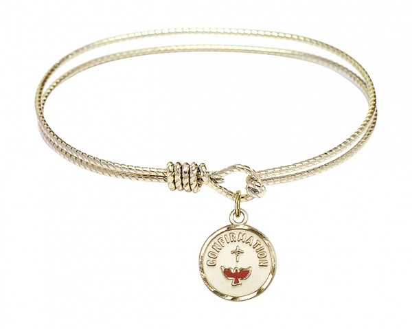 Cable Bangle Bracelet with a Red Dove Charm - Gold