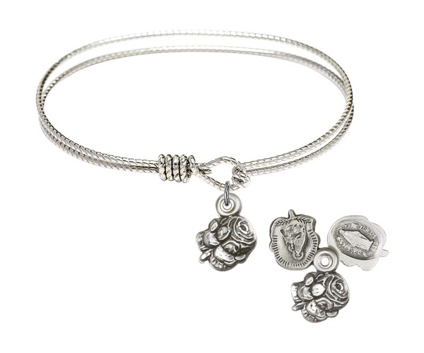 Cable Bangle Bracelet with a Rosebud Charm - Silver