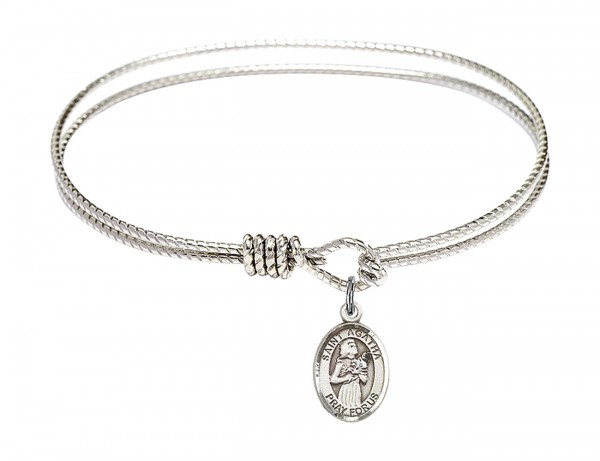 Cable Bangle Bracelet with a Saint Agatha Charm - Silver