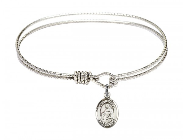 Cable Bangle Bracelet with a Saint Agnes of Rome Charm - Silver