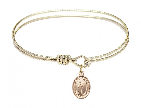 Cable Bangle Bracelet with a Saint Aidan of Lindesfarne Charm - Gold