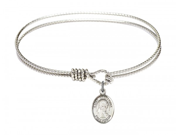 Cable Bangle Bracelet with a Saint Apollonia Charm - Silver
