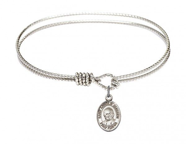 Cable Bangle Bracelet with a Saint Arnold Janssen Charm - Silver