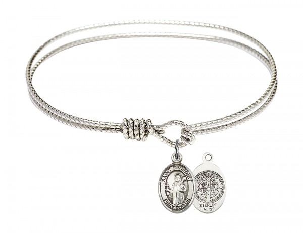 Cable Bangle Bracelet with a Saint Benedict Charm - Silver