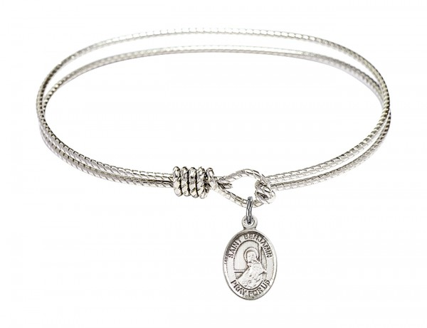 Cable Bangle Bracelet with a Saint Benjamin Charm - Silver