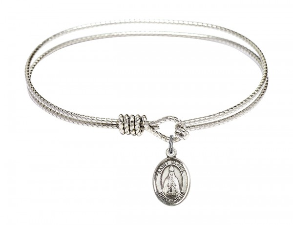 Cable Bangle Bracelet with a Saint Blaise Charm - Silver