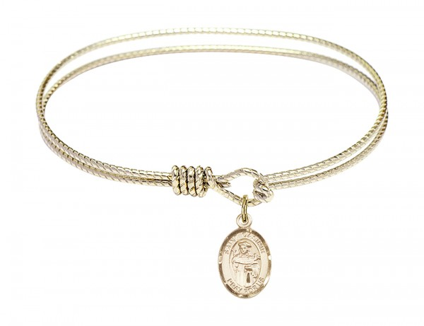 Cable Bangle Bracelet with a Saint Casimir of Poland Charm - Gold