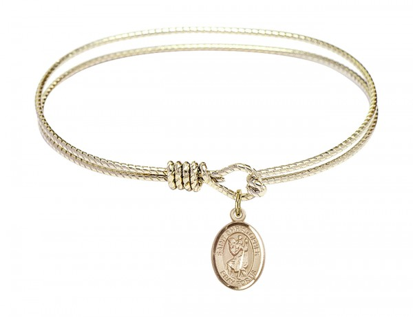 Cable Bangle Bracelet with a Saint Christopher Charm - Gold