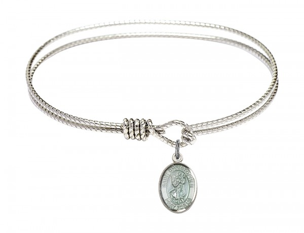 Cable Bangle Bracelet with a Saint Christopher with blue enamel Charm - Silver