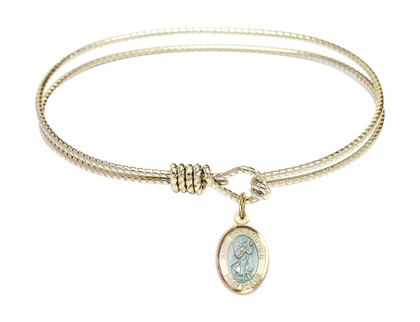 Cable Bangle Bracelet with a Saint Christopher with blue enamel Charm - Gold