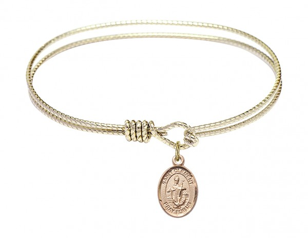 Cable Bangle Bracelet with a Saint Clement Charm - Gold