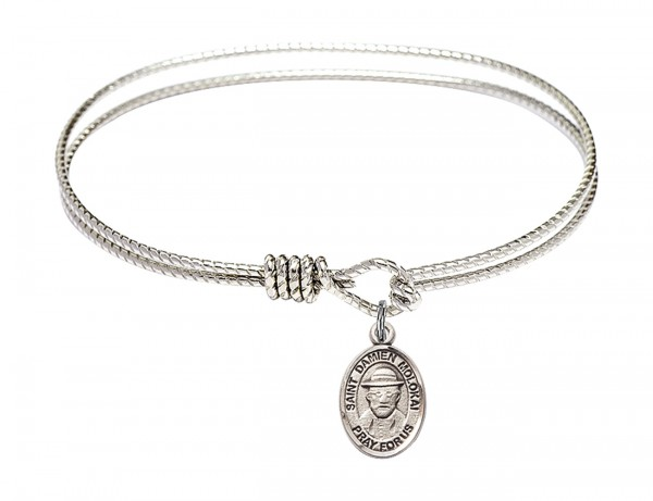 Cable Bangle Bracelet with a Saint Damien of Molokai Charm - Silver