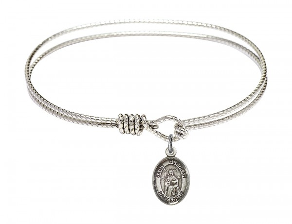 Cable Bangle Bracelet with a Saint Deborah Charm - Silver