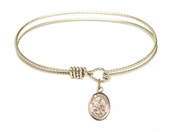 Cable Bangle Bracelet with a Saint Eustachius Charm - Gold