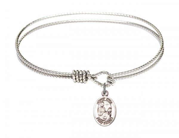 Cable Bangle Bracelet with a Saint Fina Charm - Silver