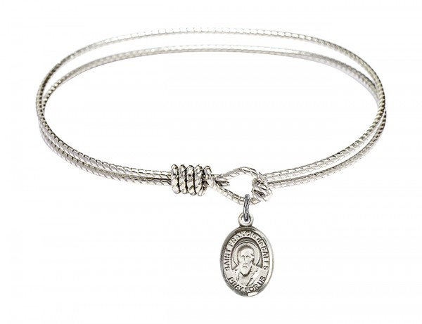 Cable Bangle Bracelet with a Saint Francis de Sales Charm - Silver