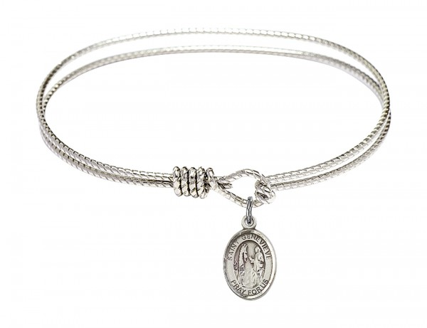 Cable Bangle Bracelet with a Saint Genevieve Charm - Silver