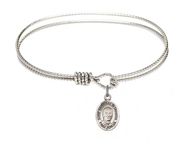 Cable Bangle Bracelet with a Saint Hannibal Charm - Silver
