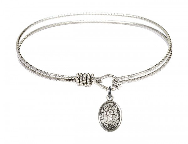Cable Bangle Bracelet with a Saint Isidore the Farmer Charm - Silver