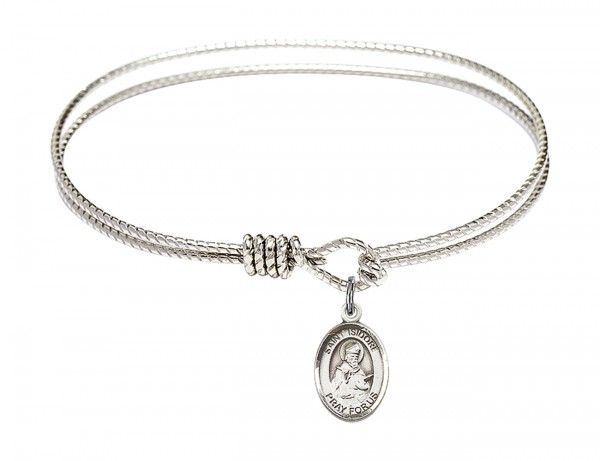 Cable Bangle Bracelet with a Saint Isidore of Seville Charm - Silver