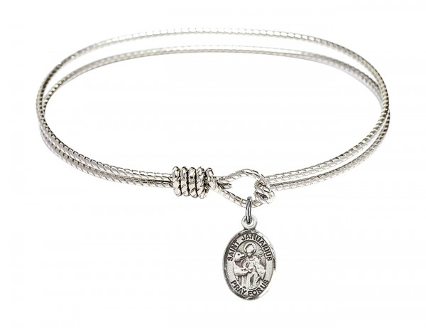 Cable Bangle Bracelet with a Saint Januarius Charm - Silver