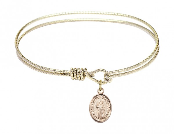 Cable Bangle Bracelet with a Saint John of Capistrano Charm - Gold