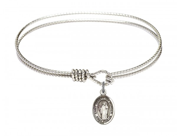 Cable Bangle Bracelet with a Saint Joseph the Worker Charm - Silver