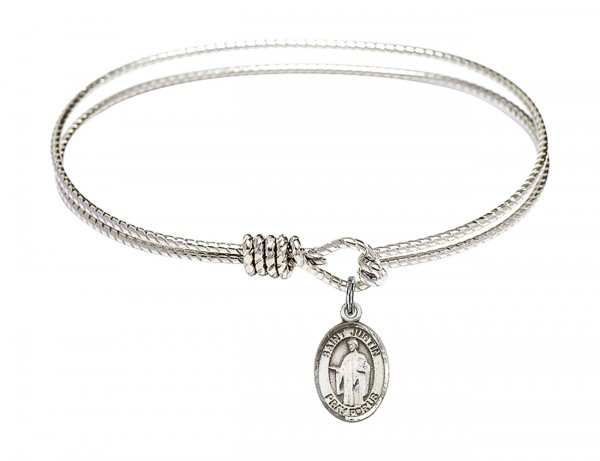 Cable Bangle Bracelet with a Saint Justin Charm - Silver