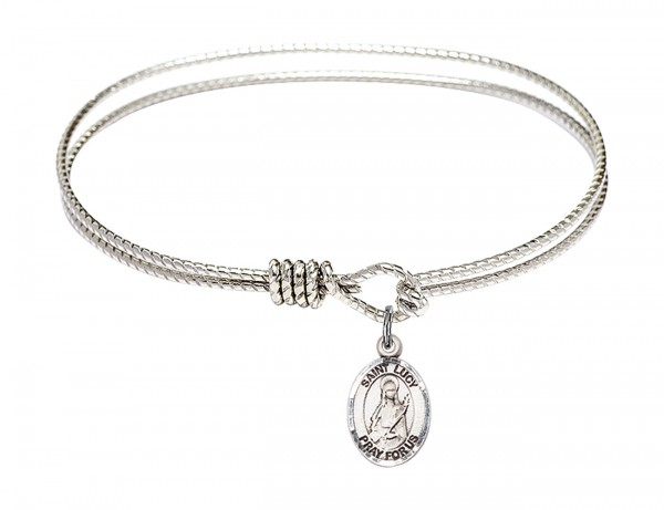 Cable Bangle Bracelet with a Saint Lucy Charm - Silver