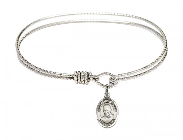 Cable Bangle Bracelet with a Saint Luigi Orione Charm - Silver