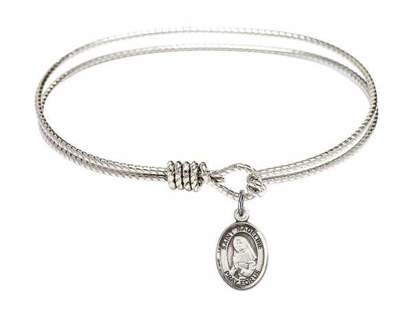 Cable Bangle Bracelet with a Saint Madeline Sophie Barat Charm - Silver