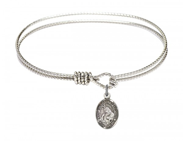 Cable Bangle Bracelet with a Saint Margaret of Cortona Charm - Silver