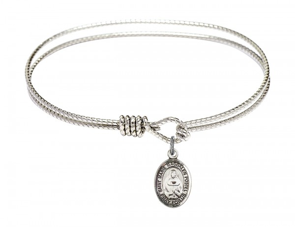 Cable Bangle Bracelet with a Saint Marie Magdalen Postel Charm - Silver