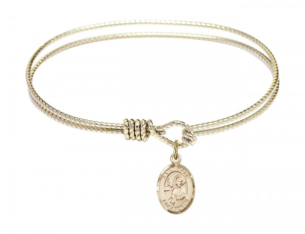 Cable Bangle Bracelet with a Saint Mark the Evangelist Charm - Gold