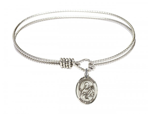 Cable Bangle Bracelet with a Saint Meinrad of Einsiedeln Charm - Silver