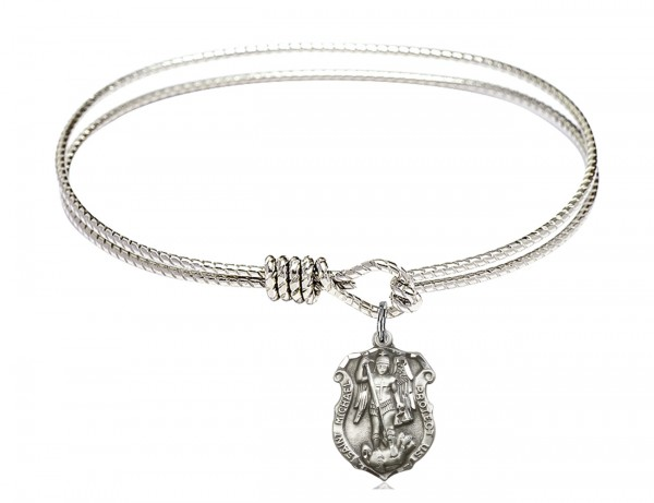 Cable Bangle Bracelet Saint Michael Shield Charm - Silver