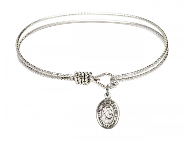 Cable Bangle Bracelet with a Saint Mother Teresa of Calcutta Charm - Silver
