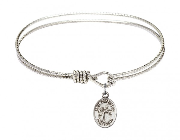 Cable Bangle Bracelet with a Saint Nimatullah Charm - Silver