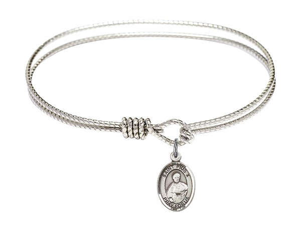Cable Bangle Bracelet with a Saint Pius X Charm - Silver