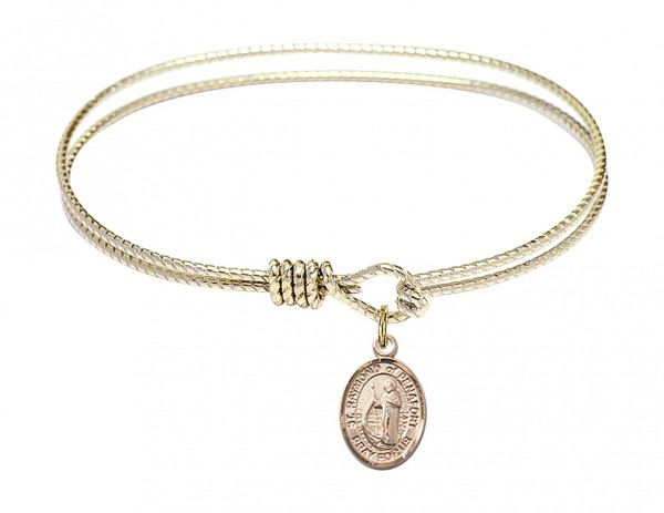 Cable Bangle Bracelet with a Saint Raymond of Penafort Charm - Gold