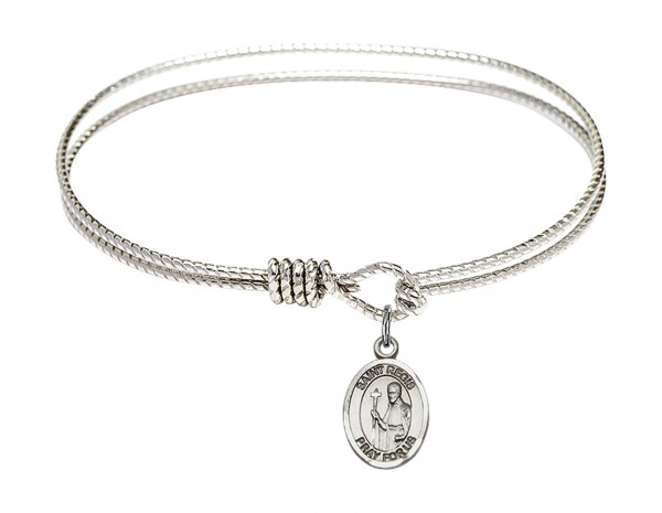 Cable Bangle Bracelet with a Saint Regis Charm - Silver