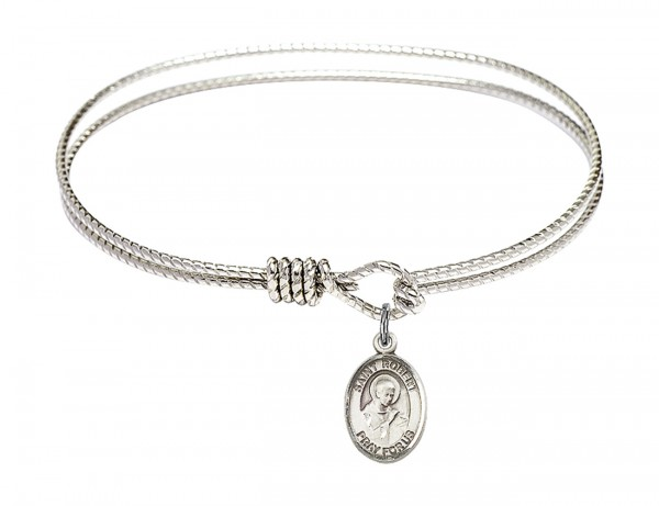 Cable Bangle Bracelet with a Saint Robert Bellarmine Charm - Silver