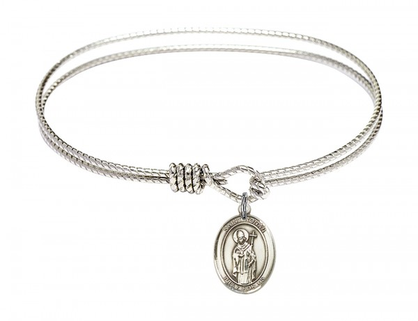 Cable Bangle Bracelet with a Saint Ronan Charm - Silver