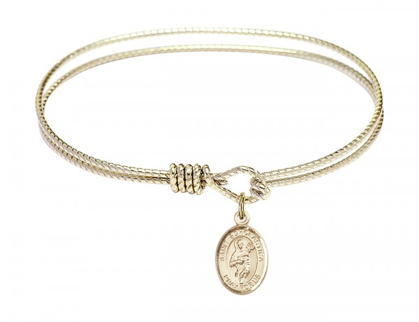 Cable Bangle Bracelet with a Saint Scholastica Charm - Gold