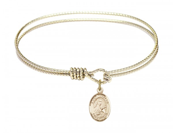 Cable Bangle Bracelet with a Saint Theresa of Lisieux Charm - Gold