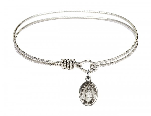 Cable Bangle Bracelet with a Saint Thomas A Becket Charm - Silver