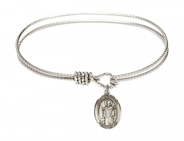 Cable Bangle Bracelet with a Saint Wolfgang Charm - Silver