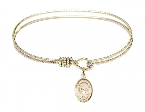 Cable Bangle Bracelet with a Saint Zachary Charm - Gold